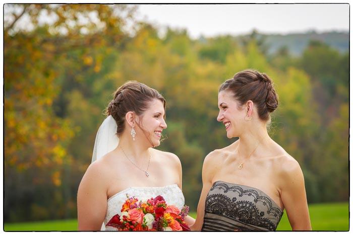 Bride and Maid of honor portrait, Western Massachusetts Wedding photographer
