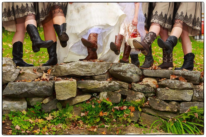 Bridal party with boots, Western Massachusetts Wedding photographer