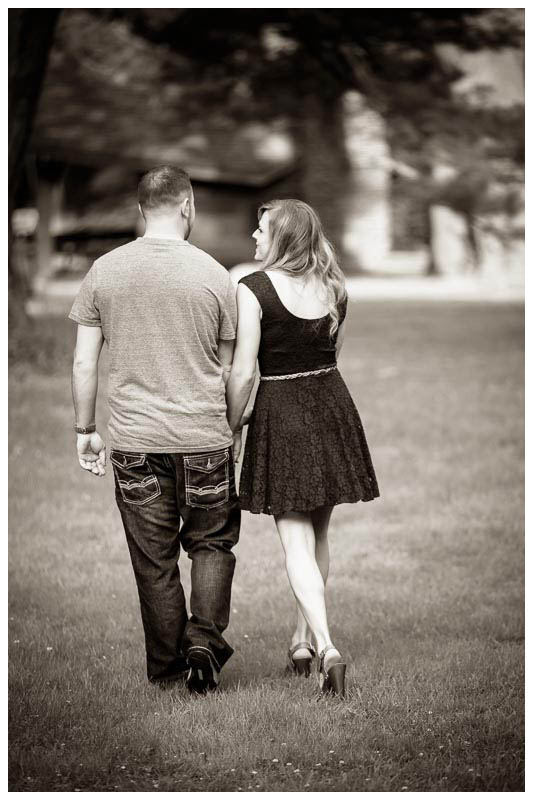 Walking Black and White engagement photography