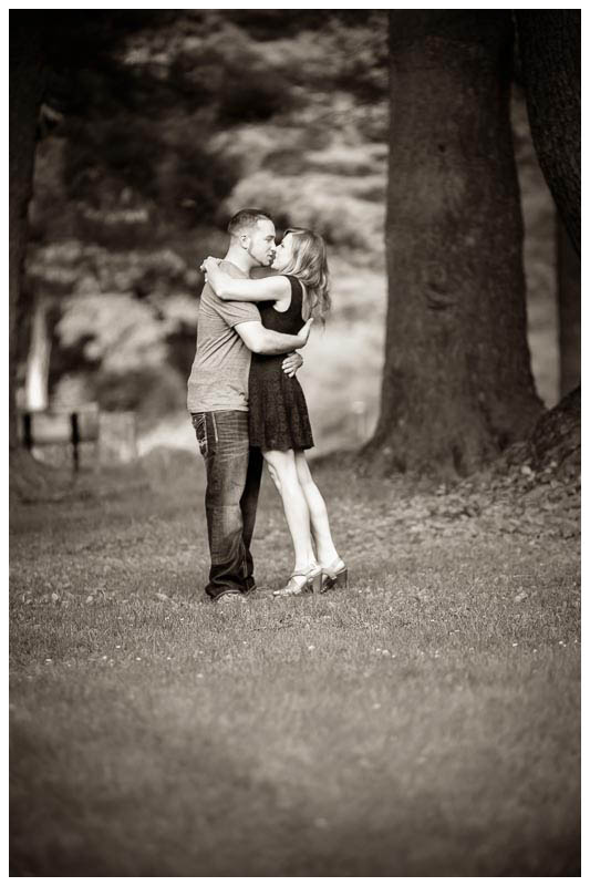 Black and white engagement photography look park