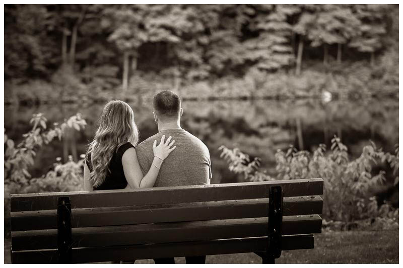 Black and White engagement photography by the lake