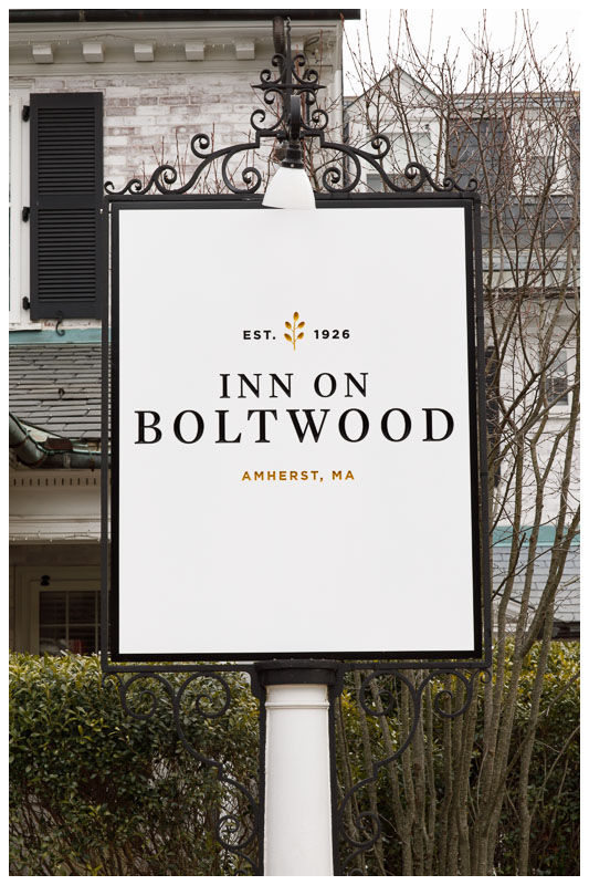 Sign of the Inn on Boltwood out front of the Inn