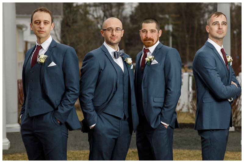 Groom and Groomsmen outside of the Inn on Boltwood in a classic pose