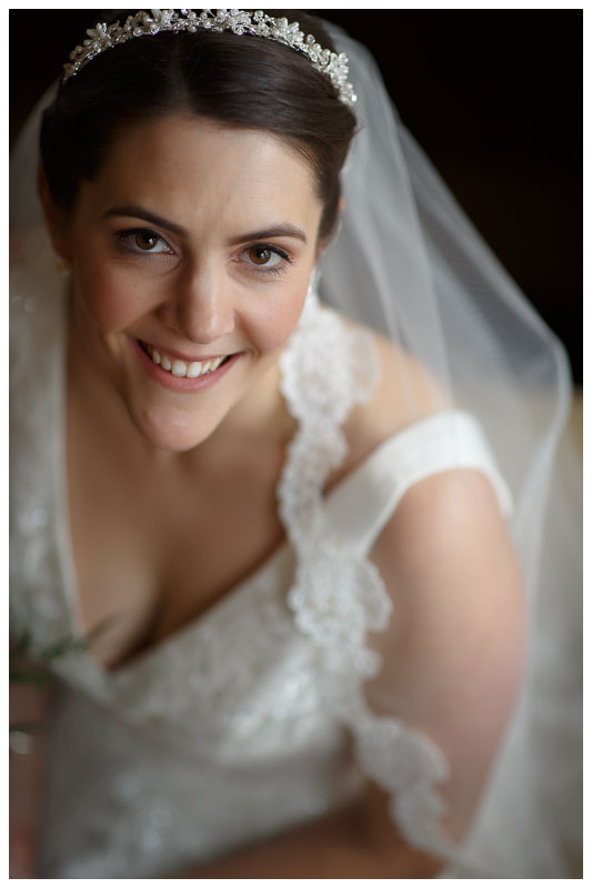 Wedding day bridal portrait with soft window light