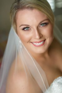 Bridal portrait with gorgeous blue eyes and natural light