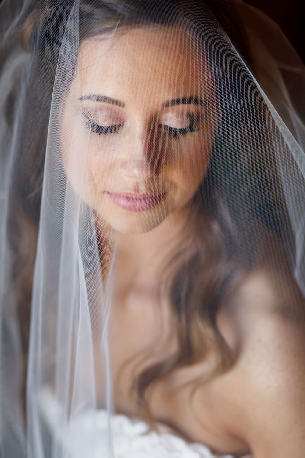 Gorgeous portrait of bride on wedding day with amazing makeup shot through veil.