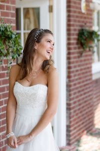 Beautiful laughing bride with soft natural light