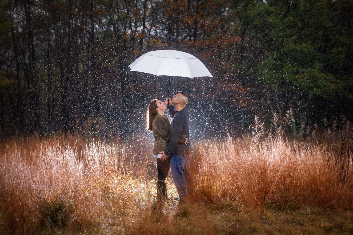 engaged couple in the rain under umbrella at Quabbin Reservoir