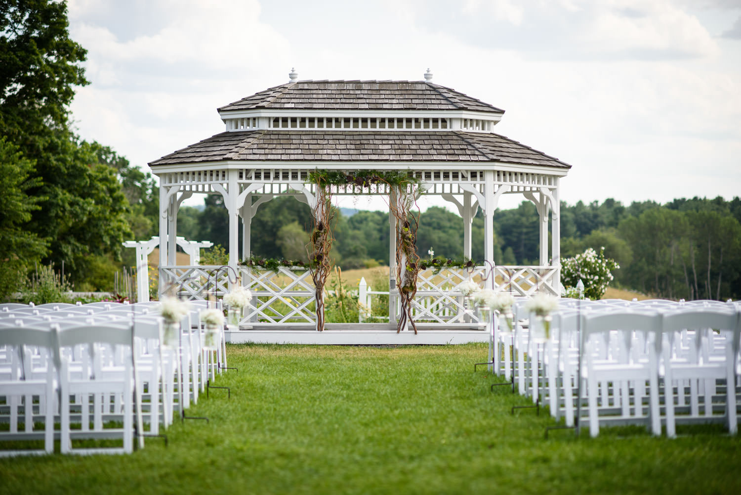 Outside ceremony site with gazebo