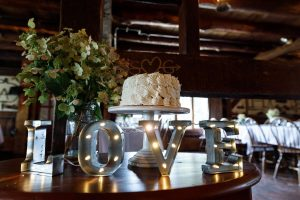 Wedding cake with love sign in foreground