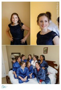 Bride and bridesmaids photo on bed