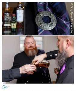 Groom and groomsmen in Kilts drinking Jameson before the ceremony