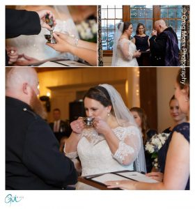Bride and groom drinking Jameson in special chalice during ceremony