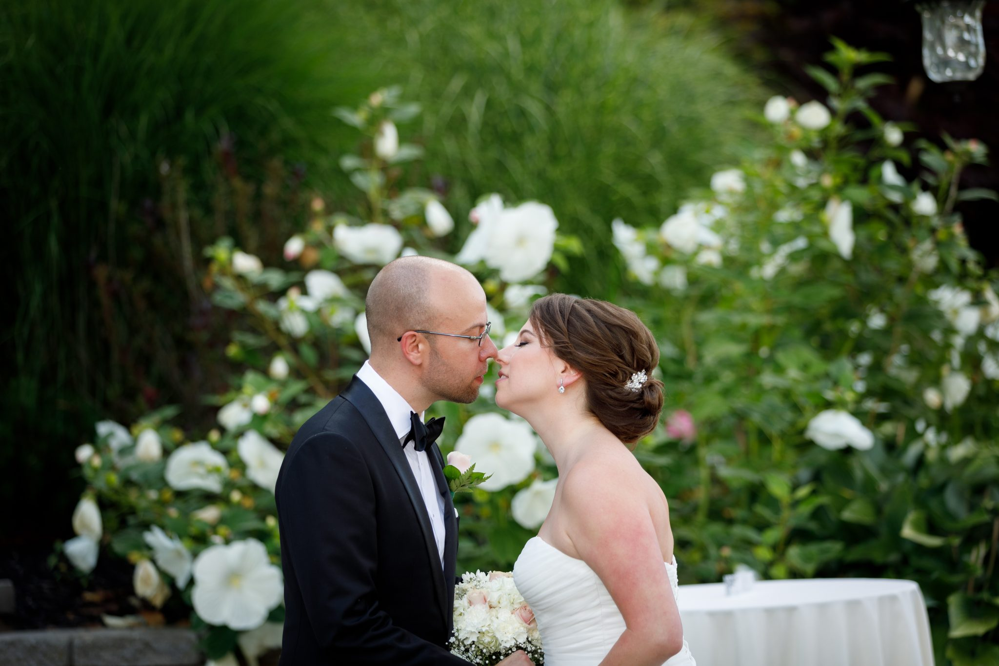 Bride and Groom First look at the Mountain Rose Inn