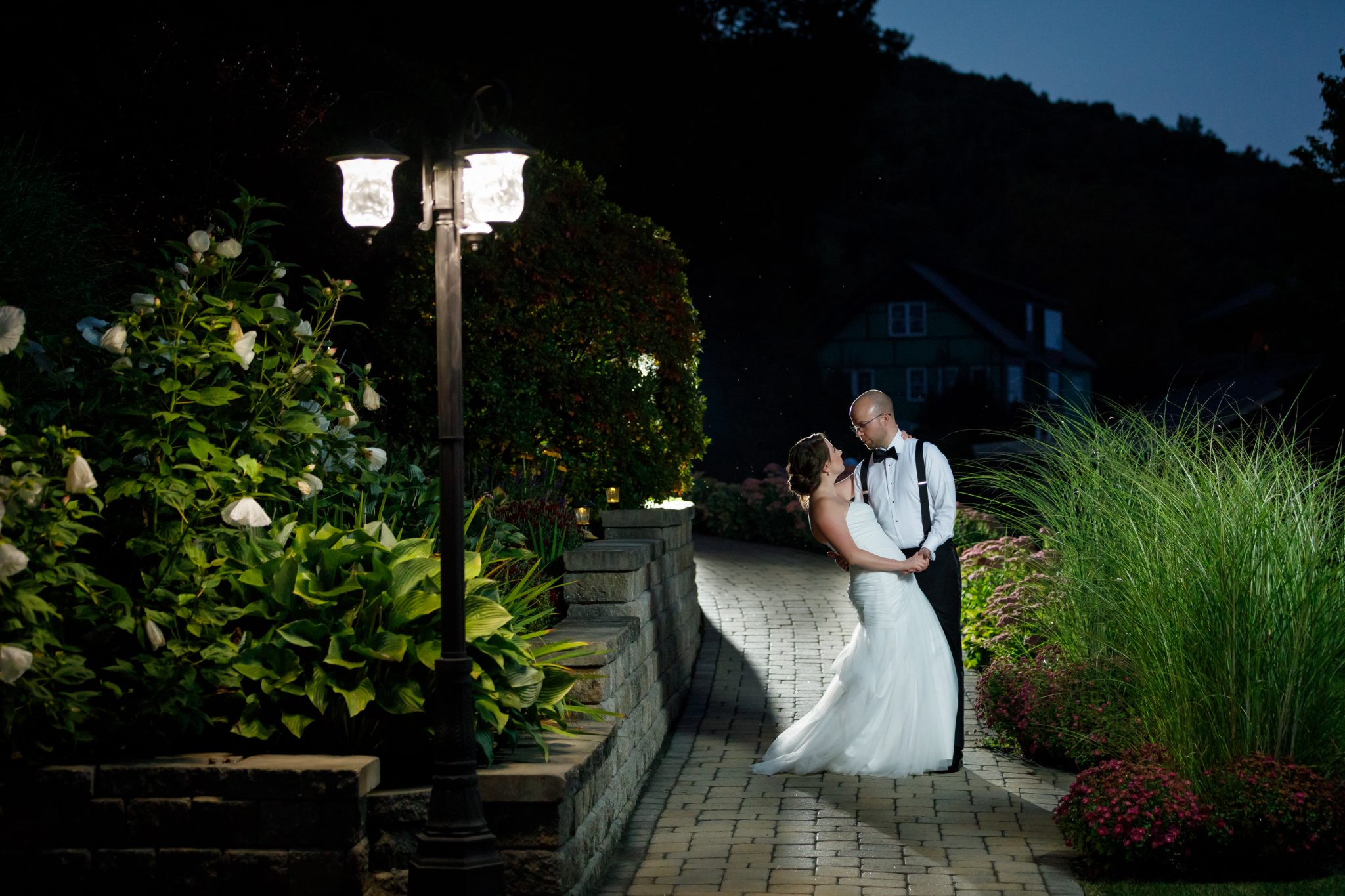 The Mountain Rose Inn wedding couple night time portrait