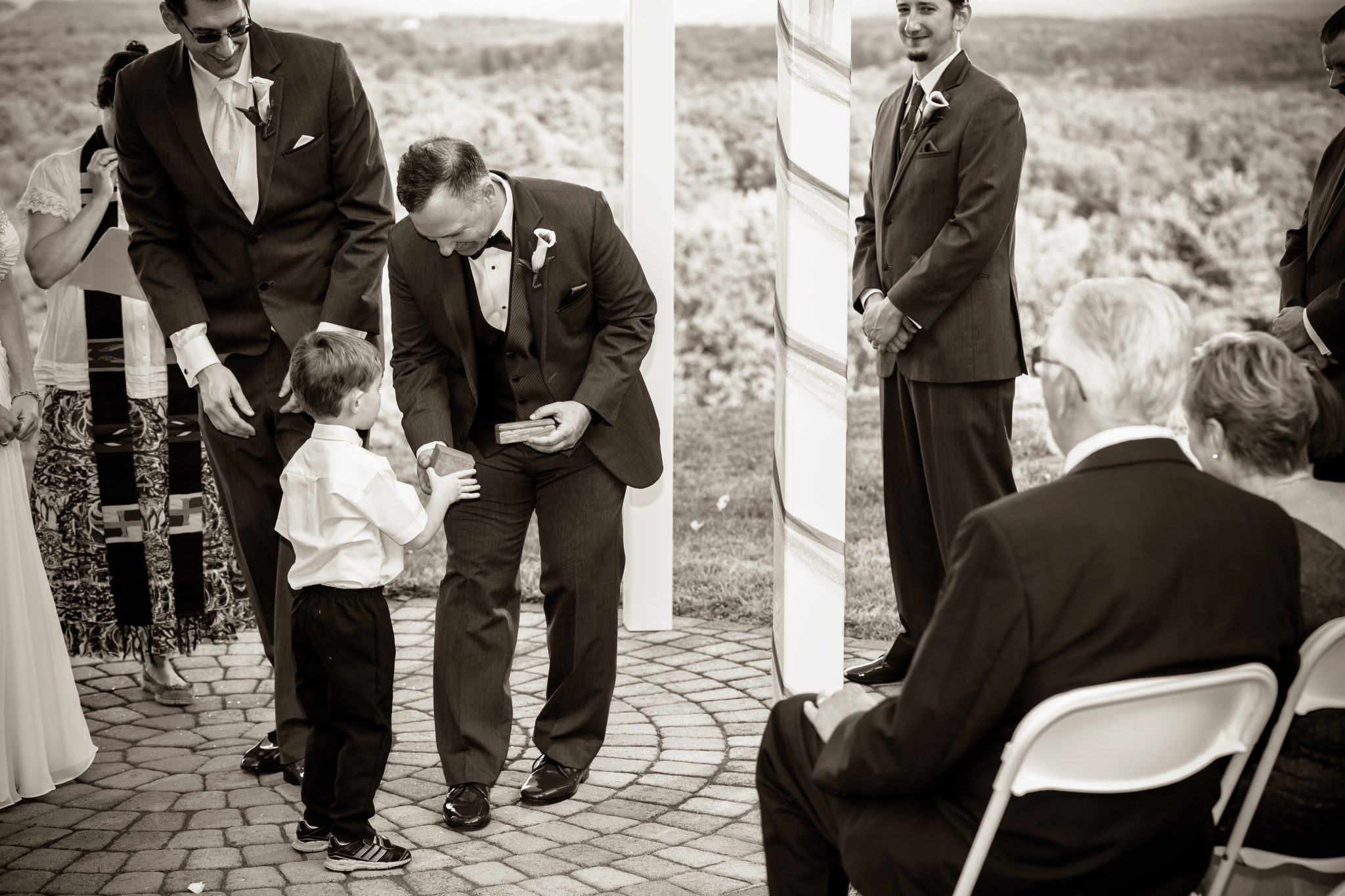 Black and white ring bearer photo