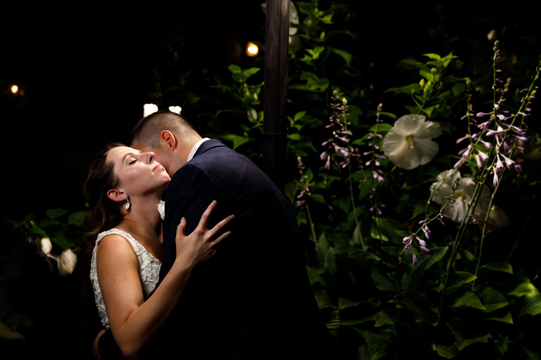 Night time bride and groom photo