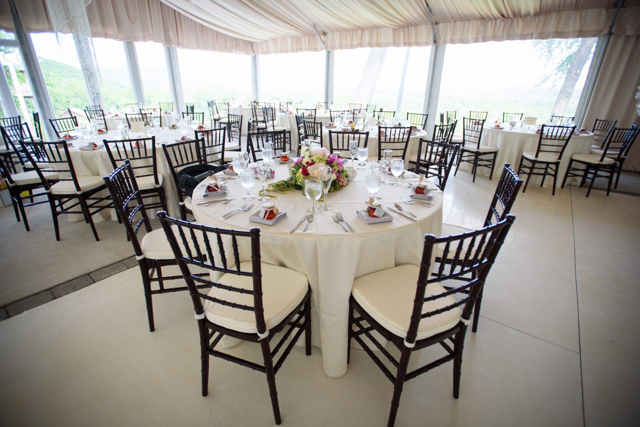 Inside tent at the Mountain Rose Inn Wedding