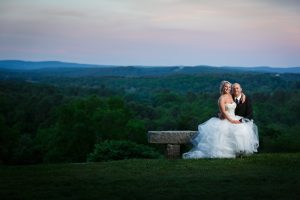 Bride and Groom portrait with scenic view