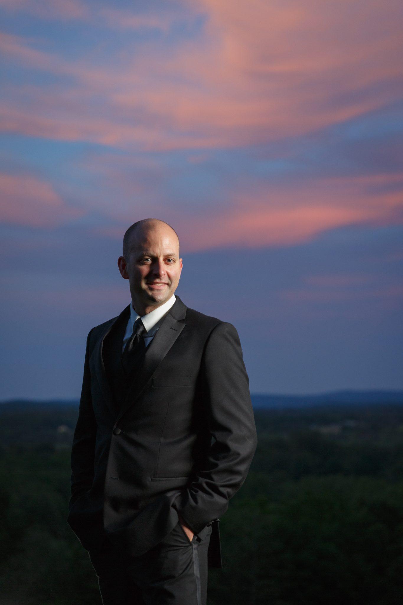Sunset groom portrait