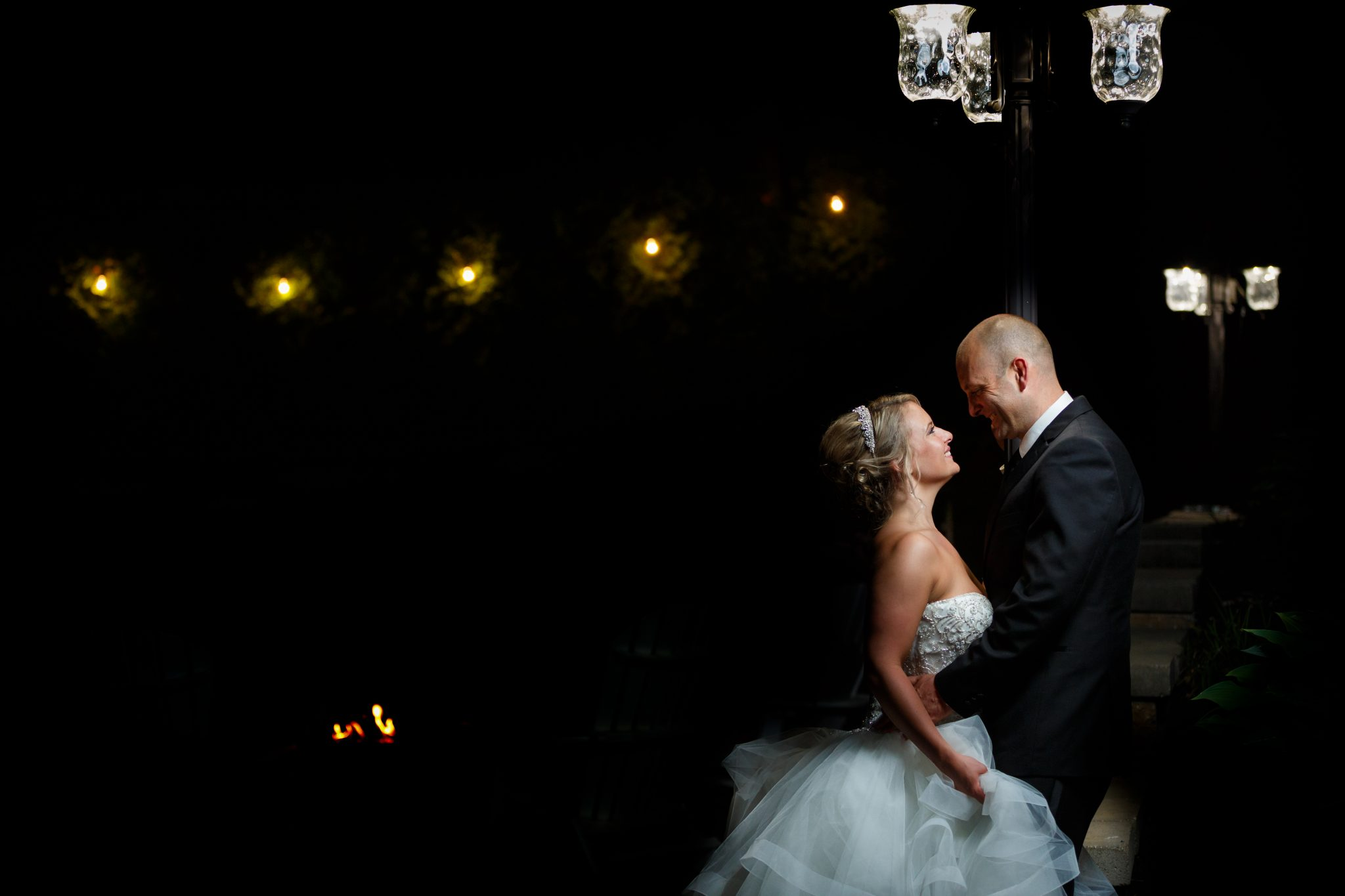 Bride and Groom night time portrait