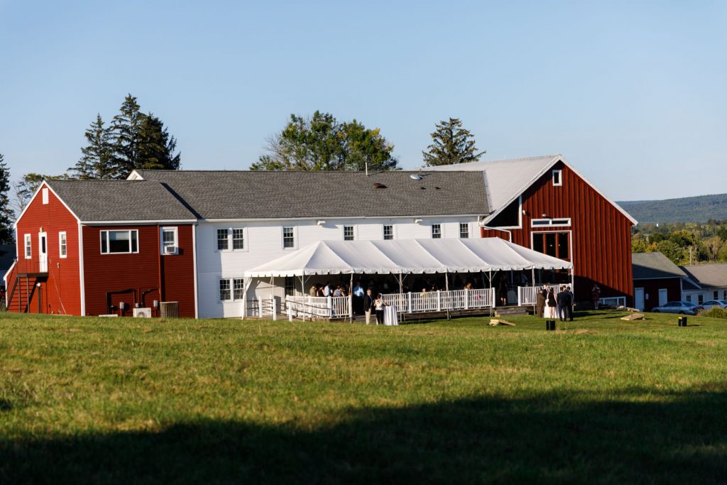 Outside photo of the Red Barn and patio space
