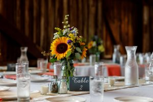 Table setup with sunflower
