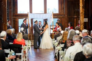 jewish wedding inside the red barn at hampshire college