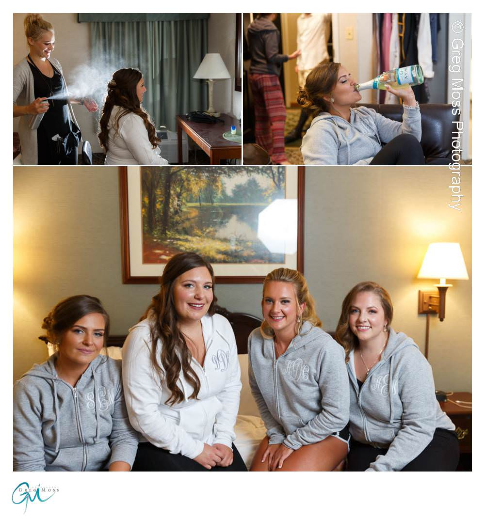 Bride Hair spray, Maid of honor jugging champagne, Bridal party in matching sweatshirts