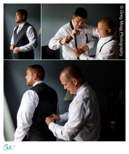 Groom with Father getting ready, groomsmen helping each other get ready