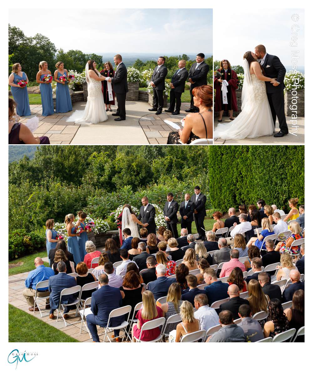 View of ceremony with all guests, bride and groom first kiss