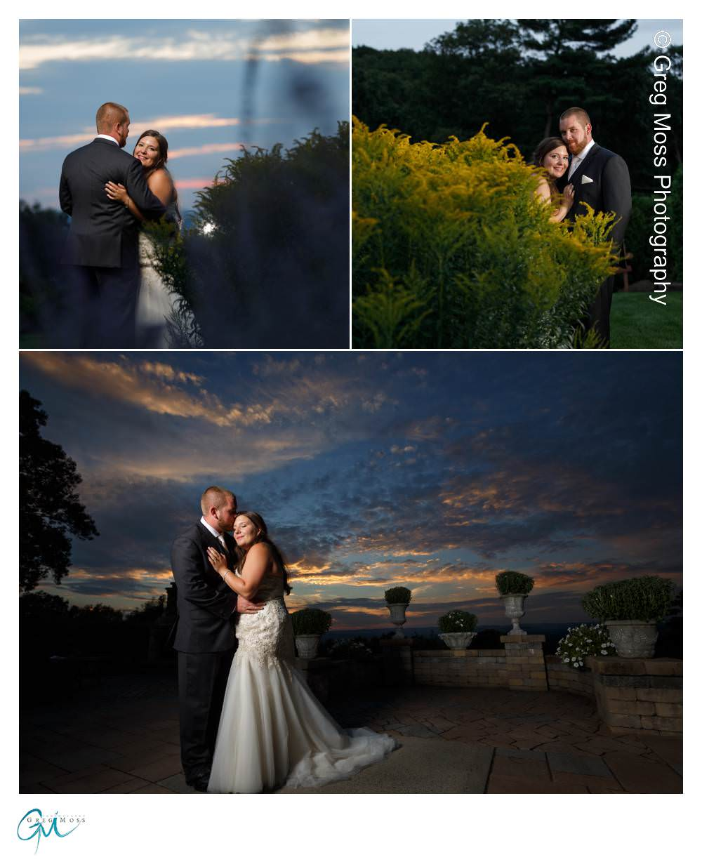 Sunset photo of bride and groom on Patio of the
