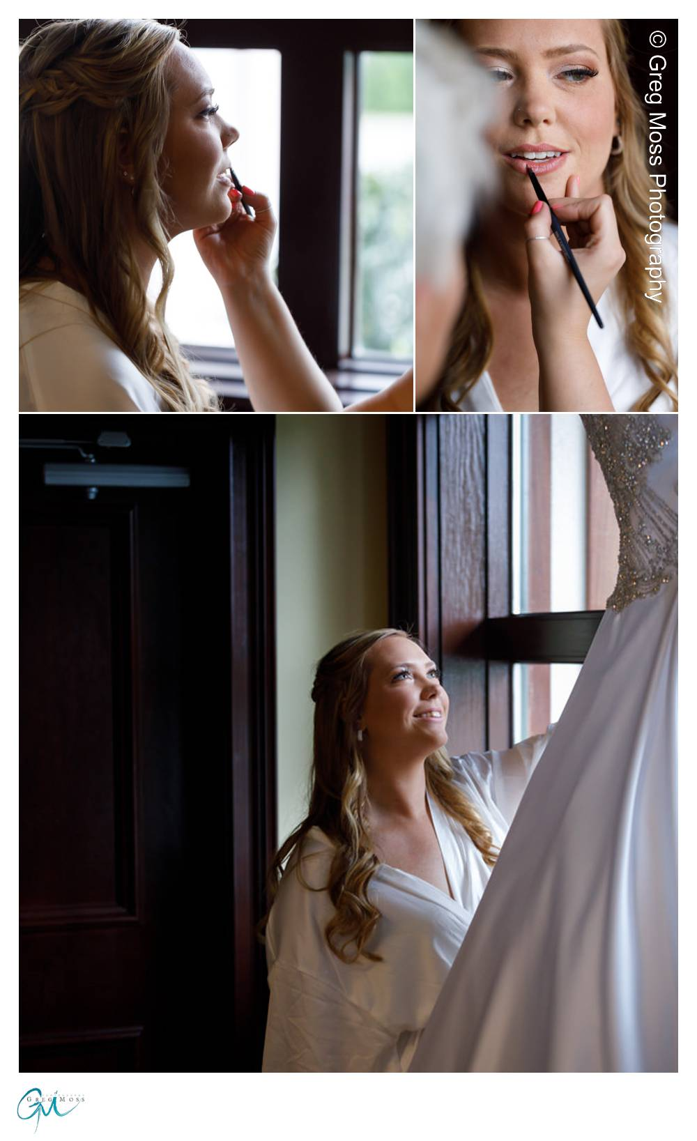 Bride viewing dress before during getting ready and photos of makeup being applied