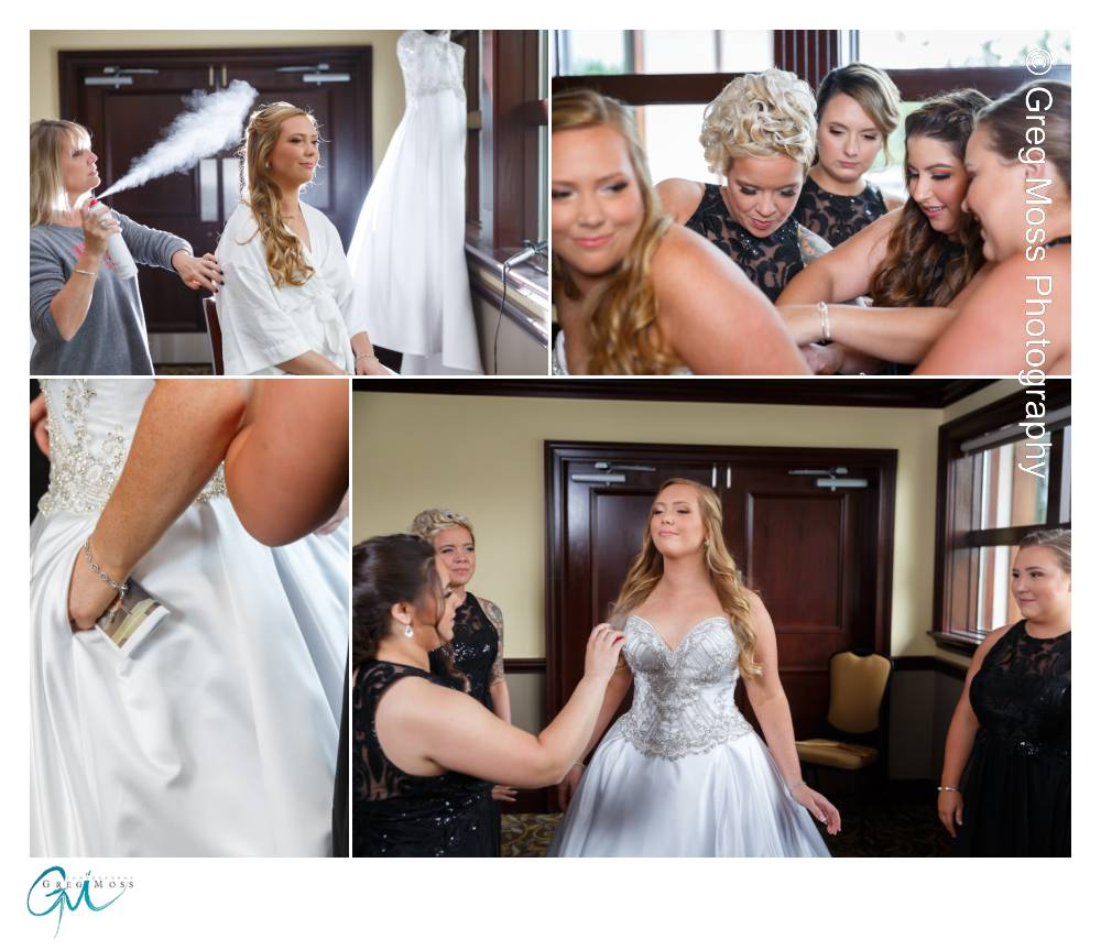 Bride getting hair sprayed, and bridesmaids helping putting on dress
