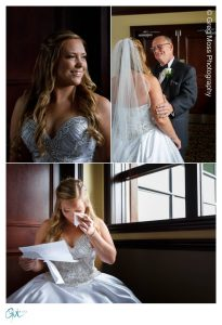Bride reading letter from groom, first look with father and window light portrait
