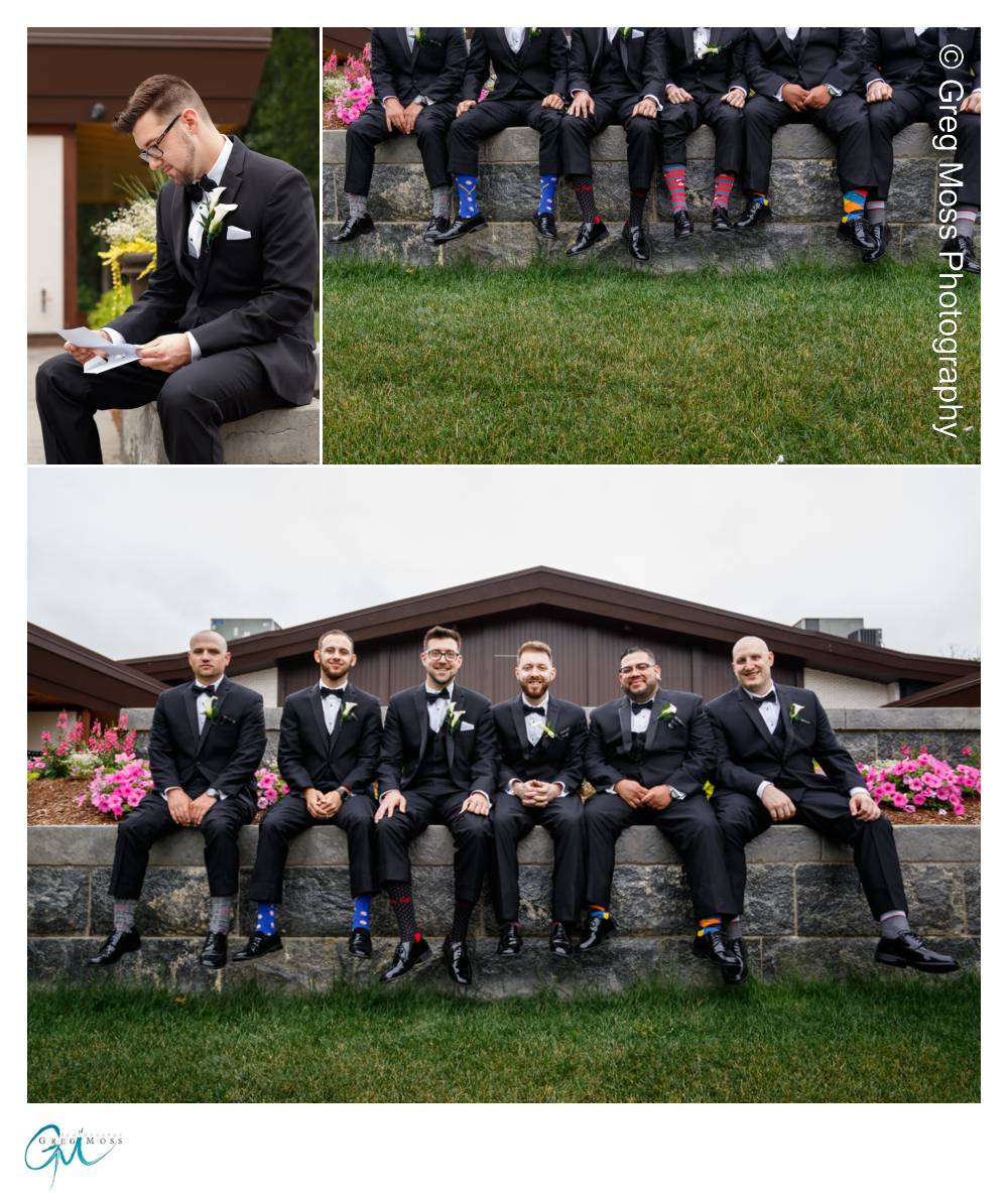 Groom reading letter from bride, Groom and groomsmen photos, Grooms interesting sock photo
