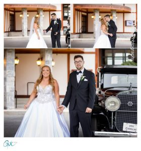 Bride and Groom first look photos in front of vintage cadillac