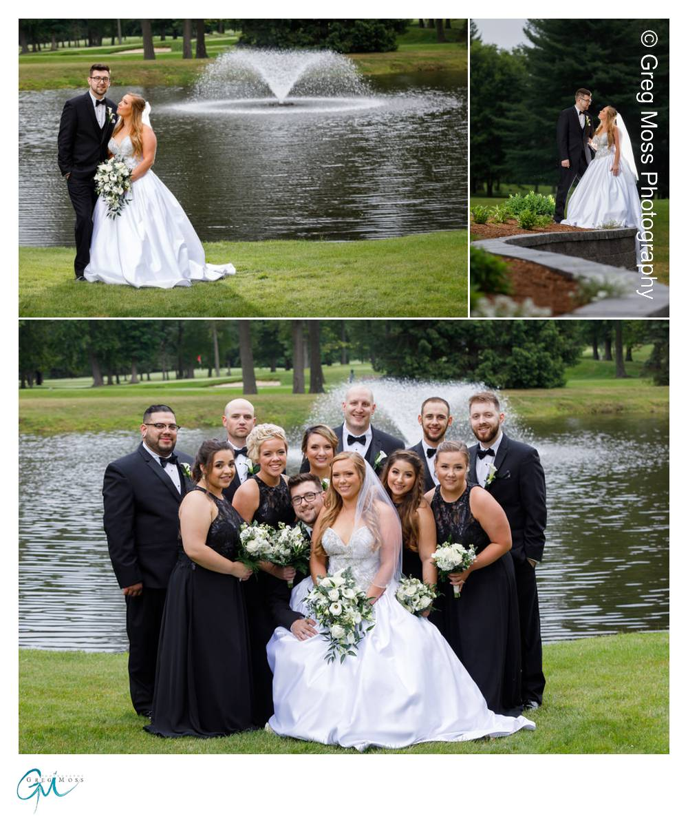 Wedding party photo in front of pond on Twins Hills Golf course