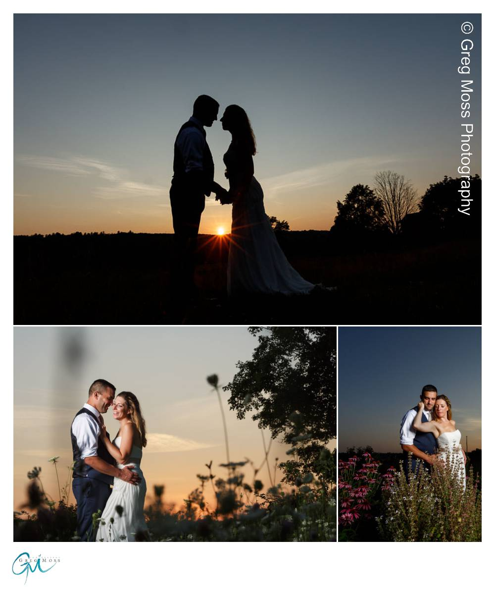 Wedding couple portrait at sunset and a sunset portrait silhouette