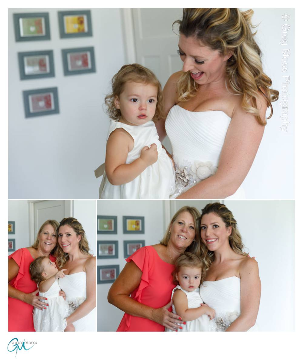Three generation on the wedding day, Mother of the Bride, Bride and Brides daughter