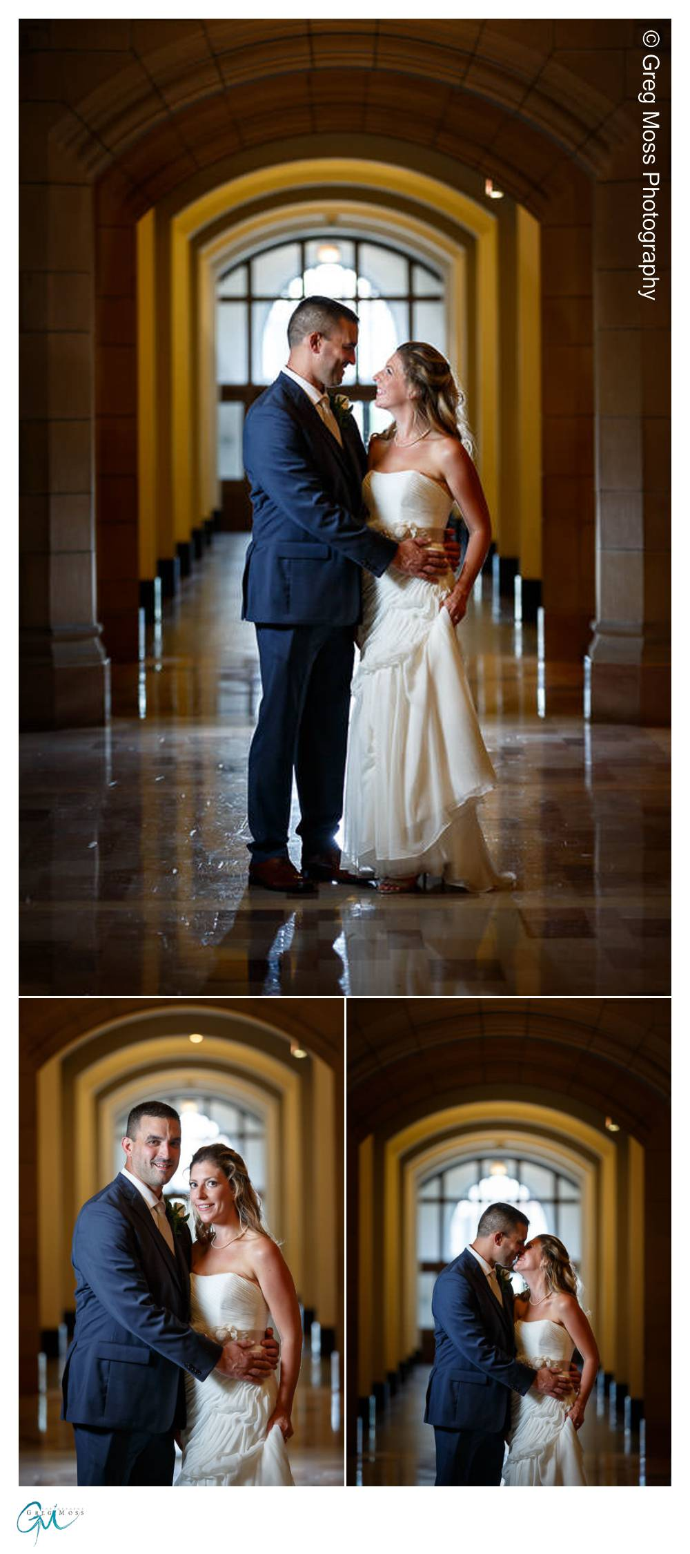 Wedding couple portrait inside Elms College