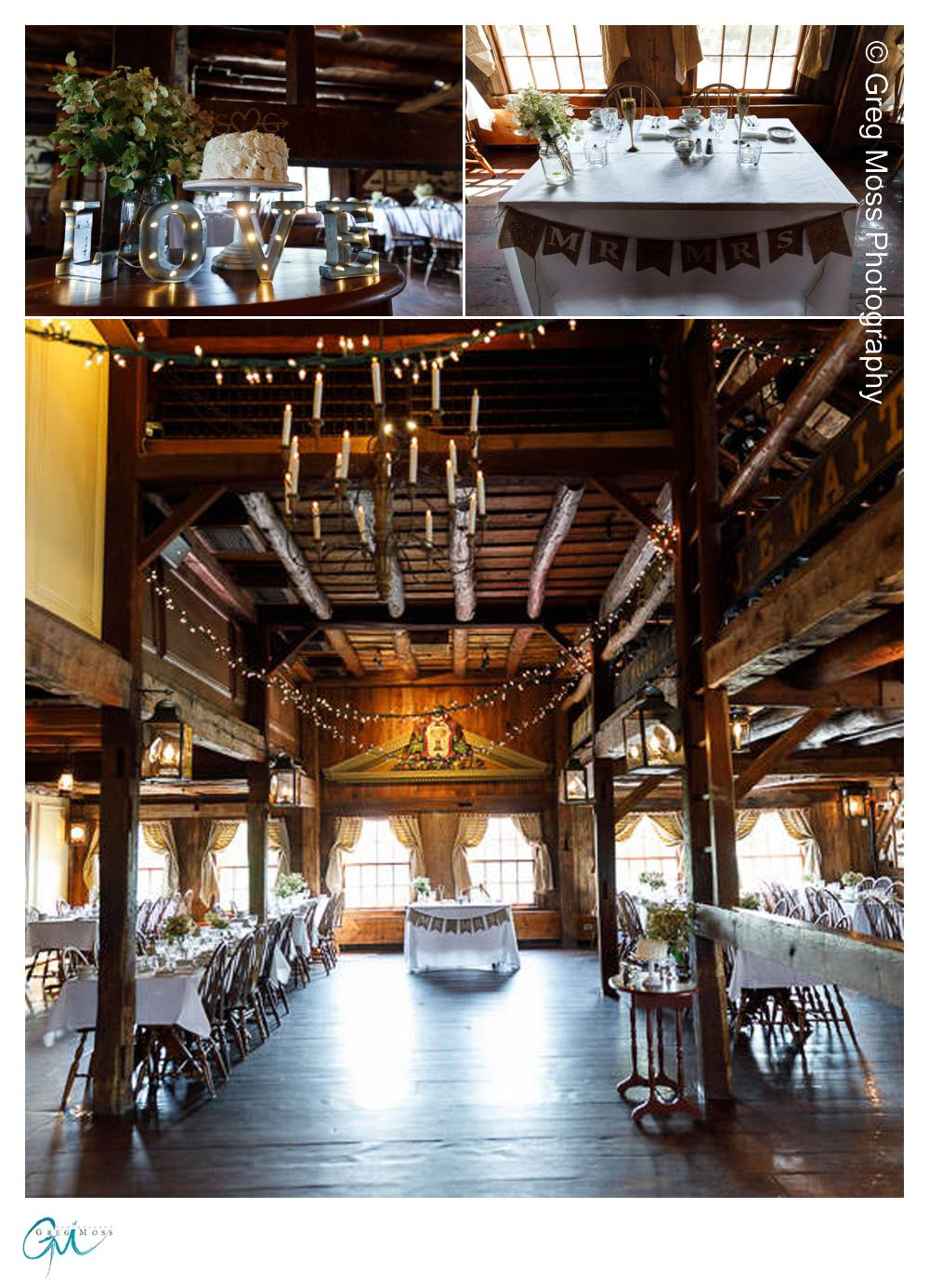 WEdding decorations inside rustic barn