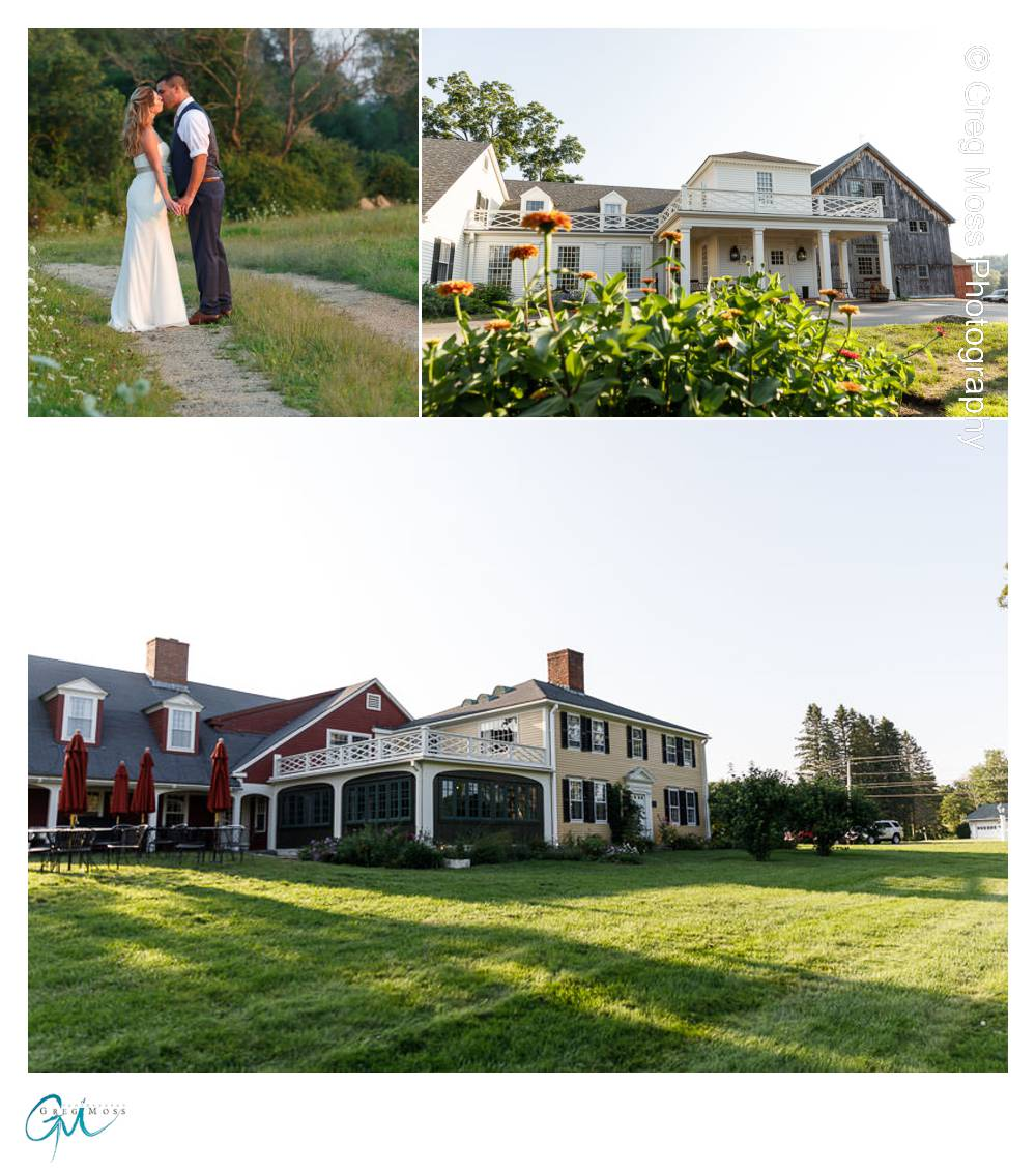 Wedding Couple portrait on trail with field in background, and outside photos of the side and front of Salem Cross Inn Building