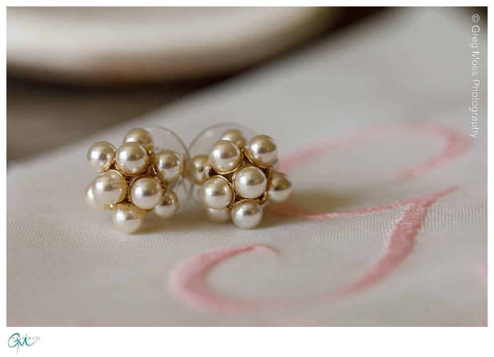 Close up of brides earrings