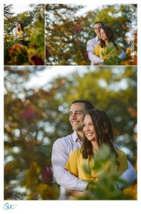 Couple holding each other in flower garden
