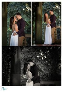 Engaged couple kissing among the columns and ivy