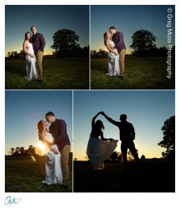 Couple at sunset with guy twirling girl with a silhouette