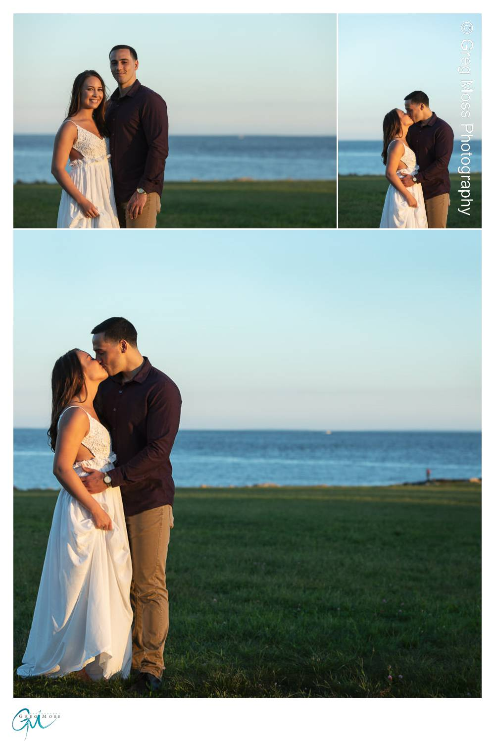 Engaged couple at sunset with Atlantic ocean in the background