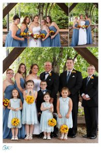 Wedding party and Family photos under awning
