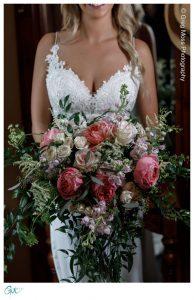 Bride with gorgeous flower bouquet